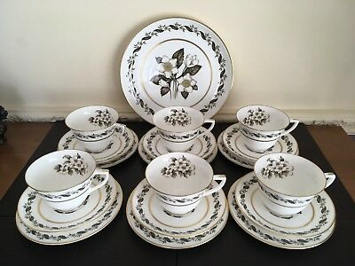 Six Royal Worcester Cups, Saucers And Side Plates & A Larger Plate - Bernina