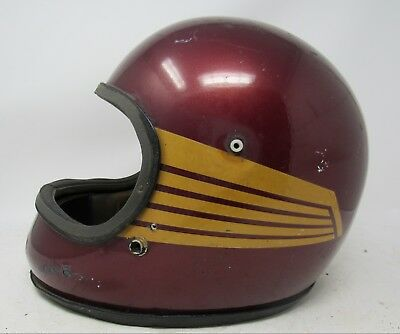 Vintage 1970s Arthur Fulmer AF50 Helmet / Red with Yellow Stripes / Must See!!
