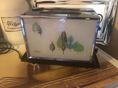 Vintage Sunbeam Toaster  Model AT-A Glass / Chrome Leaf Motif Mid Century 60's