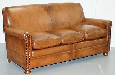 Rrp £3250 Tetrad Prince Three Seater Brown Leather Sofa Feather Filled Cushions