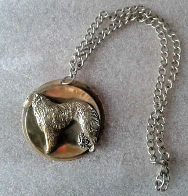 """Vintage Borzoi/Russian Wolfhound Brass Pendant/Pin with 18"""" Chain"""