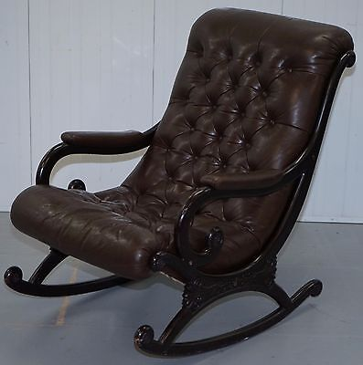 1970 Danish Brown Leather Chesterfield Slipper Rocking Armchair Library Reading