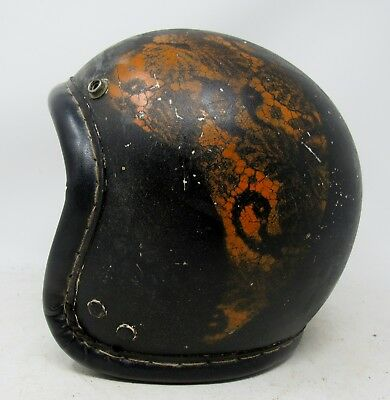 Vintage 1960s McHal / Daytona  Leather Stitched Helmet / Must See!