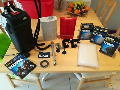 Fluval 206 external filter with replacement media and filters and seal