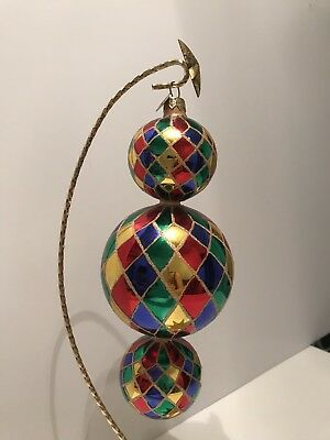 Christopher RADKO Ornaments Triple Harlequin Drop 1999-2000 15th Anniversary