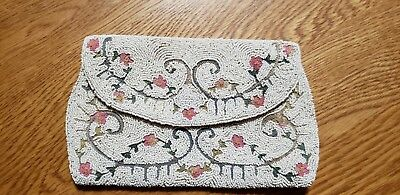 Vintage Hand Made Satin Beaded Clutch Coin Purse Bag. Made In France