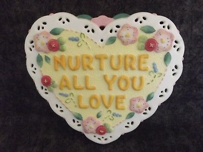 2001 Mary Engelbreit Nurture All You Love Heart Shaped Plaque Wall Hanging