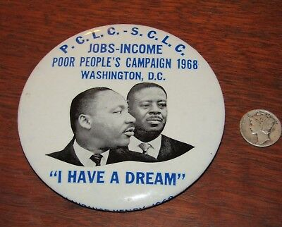 Original 1968 Martin Luther King Jr Poor People's March Pinback Button VTG MLK