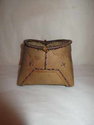 Antique Native American Indian Birch Bark Basket  - Early 1900's