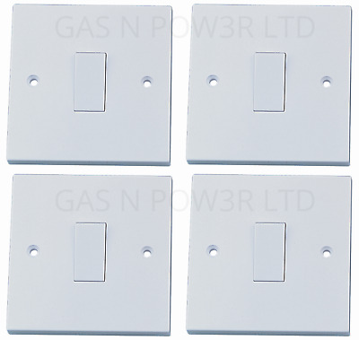 Light Switch Single 1 Gang 1 Way BS ASTA Approved 10 Amp - White Plastic x4