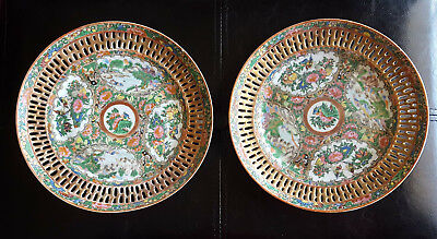"Antique Chinese Export Famille Rose Medallion Reticulated 8"" Plates qty of 2"