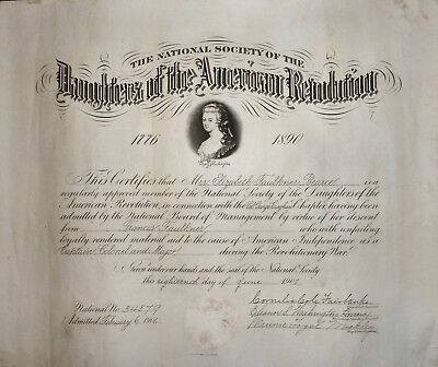 Antique Daughters of the American Revolution - 1901 DAR Historical Document