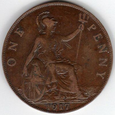 1917 One Penny King George V Near Very Fine condition