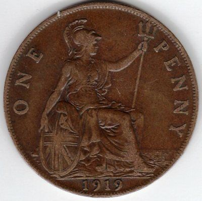 1919 One Penny King George V. Fine condition