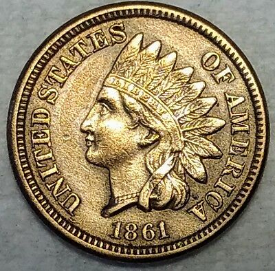 About Uncirculated 1861 Indian Head Cent! Razor-sharp, better date piece!