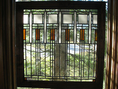 Prairie Style Stained Gl Window Pair Available