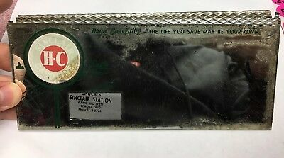 RARE Advertising Chuck's SINCLAIR GAS STATION Rear View Mirror Fremont Ohio Oil