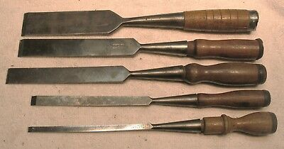 "Vintage 5 Piece Set of T H Witherby Firmer Long Socket Chisels - 1 1/2""  to 1/4"""