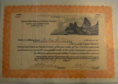 Oatman Gold Mining and Milling Company 1923 stock certificate