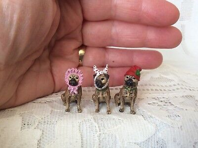 Trio of Antique Vtg Vienna Bronze Austria Miniature Hatted Pug Dogs Jane Withers