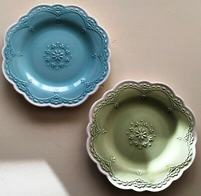 Pier 1 LACY Blue & Green Embossed Scalloped Salad/Dessert Plates (Set of 2) NWT