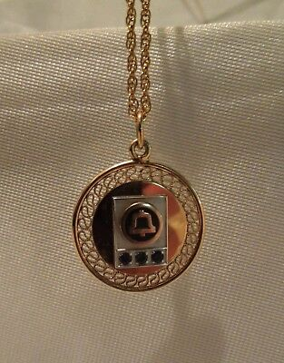 Vintage 12K Gold Filled Bell Telephone Service Award Pendant with Chain