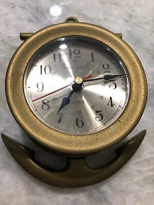 Vintage Brass Anchor Shape Ship's Clock - Working condition