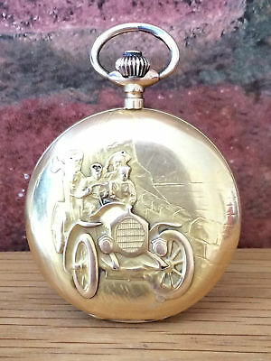 American Clinton 18ct Gold 1930s Pocket Watch Repousse Model T Ford & Case