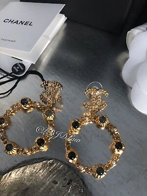 3d7266023 NWT CHANEL Pearl Hoop Earrings Jewel Symbols Crystal CC Gold 2018 2019  LARGE NEW