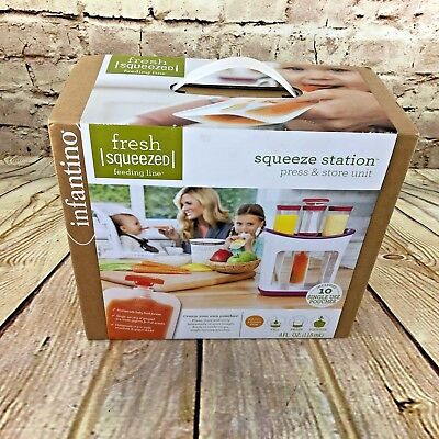 Infantino Fresh Squeezed Squeeze Station and 10 Baby Food Storage Pouches
