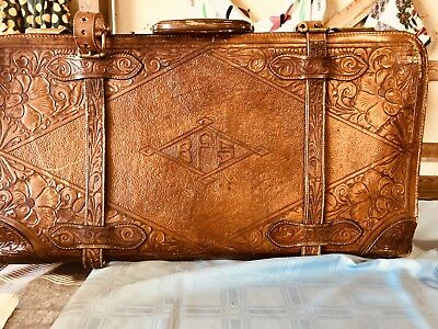 Antique Vintage Hand Tooled Mexican Leather Suitcase