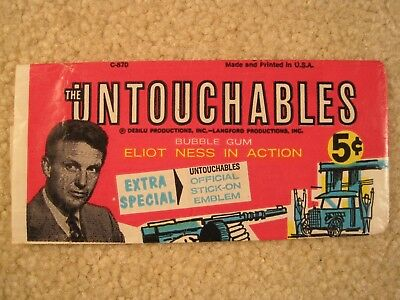 1962 Leaf The Untouchables Wrapper Robert Stack as Eliot Ness