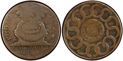 1787 Fugio Cent United States, No Cinq, Cross after Date, PCGS VG10