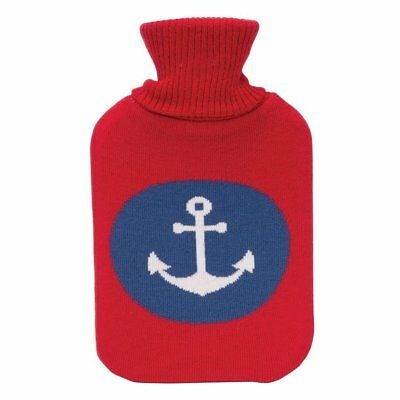 Hot Water Bottle Winter Warm Rubber Bag w knitted Cover Therapy Nautical Anchor