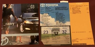 2003 Toyota Camry Sales Brochure with the Window Sticker, From a Smoke Free Home
