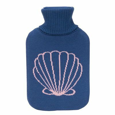 Hot Water Bottle Winter Warm Rubber Bag w knitted Cover Therapy Nautical Shell