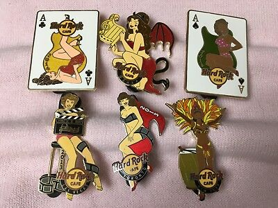 Hard Rock Cafe Lot of 6 Girl Pins - Online - Osaka - Toronto - Las Vegas & More