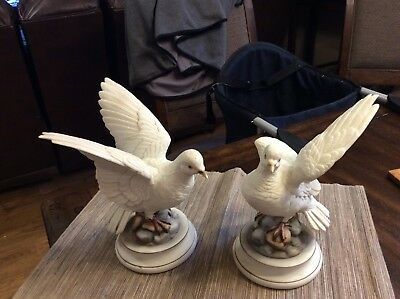 """Set of """"White Doves by Andrea by Sadek"""" Made in Japan Ceramic Figurines"""
