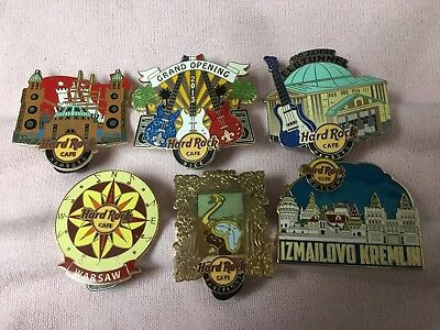 Hard Rock Cafe Lot of 6 Pins - Hamburg - Nice GO - Warsaw - Barcelona and More