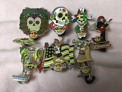 Hard Rock Cafe 7 Pins - Stockholm Skulls - Chicago - Online - New Orleans & More