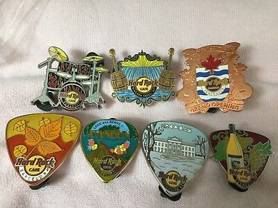 Hard Rock Cafe Lot 7 Pins - Cancun - Vancouver - Budapest - Washington DC & More