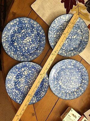 Stangl Pottery Town & Country Blue Sponge Ware Salad Plate - Set Of 4