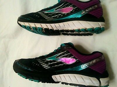 aa600aae012d Brooks Ghost 9 Womens Athletic Running Shoes Black Purple Fitness US 8 Wide