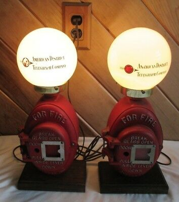 2 ADT Fire Box Lamps Firefighter Collector Bar Decor Man Cave