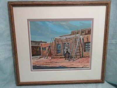Painting of old womanat Hopivillage, signedby G Norris, matted & framed