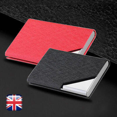 Pocket Name Credit ID Business Card Holder Metal Case Stainless Steel  Leather