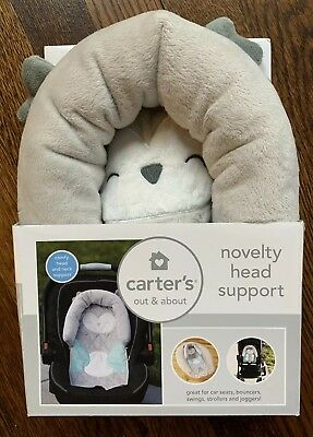 NEW Carter's Infant Novelty Head Support for Car Seat - Gray Owl Animal Design