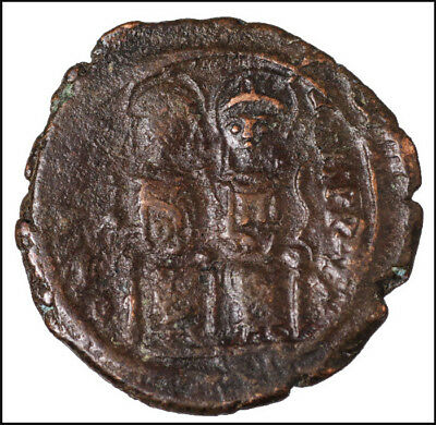 Justin II Bronze coin byzantine empire Ancient antiquities Cross Nicomedia #B72