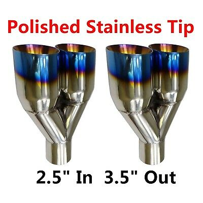 "2X Blue Burnt Exhaust Duo Slant Tip Polished Stainless Steel 2.5""In 3.5""Out"
