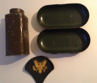 Vintage, Wwii Issued Patch/metal Powder Shaker & Eyeglass Case Lot